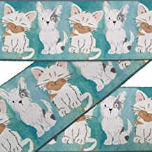 IBA Indianbeautifulart Blue Cat & Schnauzer Puppy Dog Printed Ribbon Trim 9 Yard Velvet Fabric Laces for Crafts Sewing Accessories 3 Inches