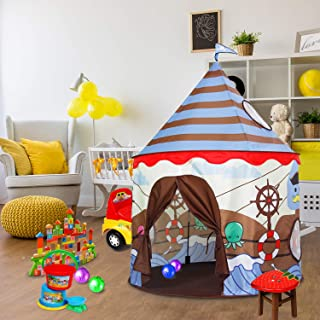 ALPIKA Castle Kids Play Tent Children Pirate Tent Indoor and Outdoor Viking Patterns Playhouse with Carrying Bag (Brown-Blue)