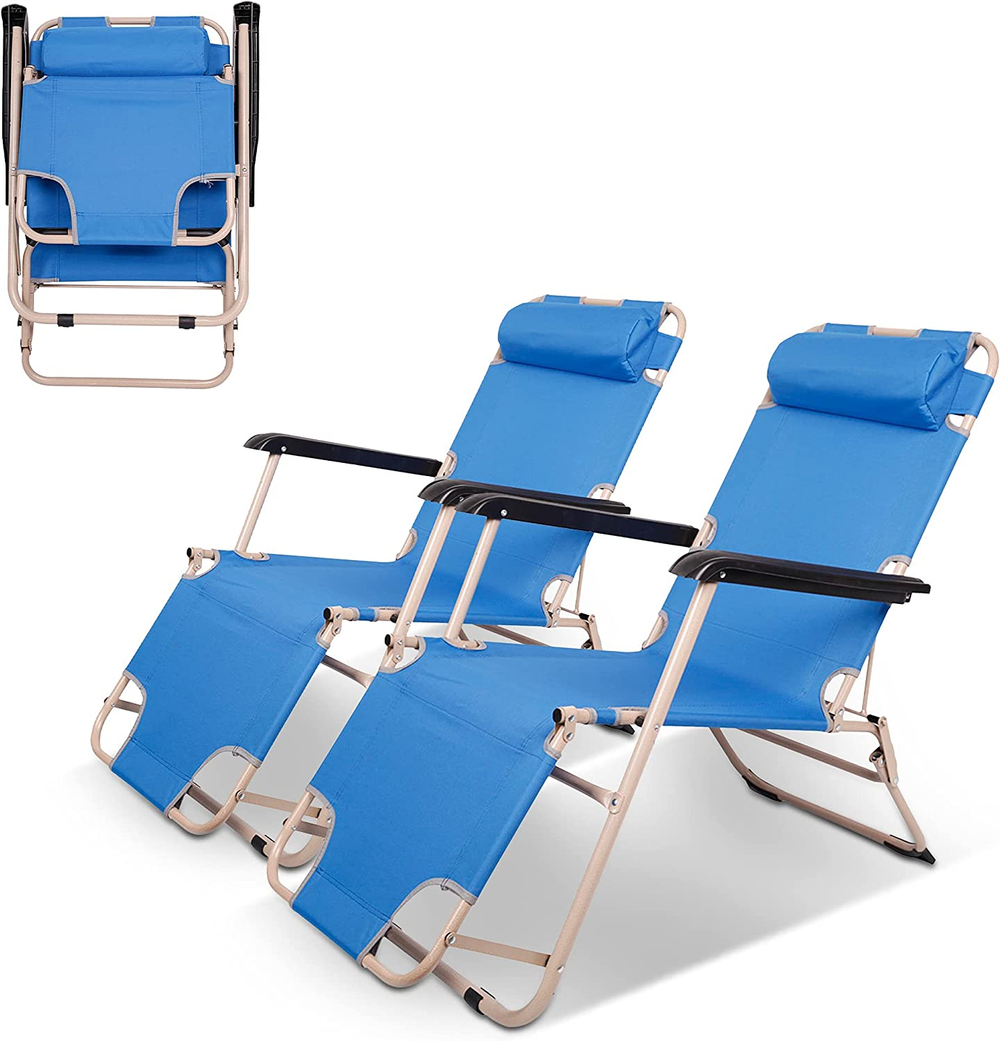Koreyosh Outdoor Folding Lounge Chair Set of Re safety Patio Portable Max 60% OFF 2
