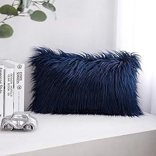 "PHANTOSCOPE Decorative New Luxury Series Merino Style Navy Blue Fur Throw Pillow Case Cushion Cover 12"" x 20"" 30 x 50 cm"