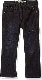 U.S. POLO ASSN. Big Boys' Straight Leg Jean, Moto Dark Crinkle, 16