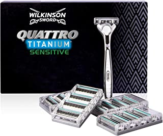Wilkinson Sword Pack Ffp ECO box Quattro Titanium - Kit de maquinilla de afeitar de 4 hojas de Titanio para hombre + 17 re...