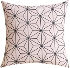 Andreannie Scandinavian Modern Geometric Design Beige & Black Cotton Linen Personalized Throw Pillow Case Cushion Cover New Home Office Decorative Square 18 X 18 Inches