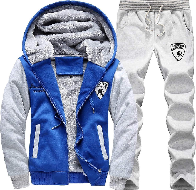 Zimase Mens with Zips Hood Activewear Casual Plus Velvet Tracksuit Sport Sweat Suit Set