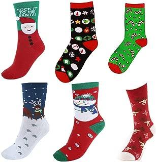 Pakala66 Women's Christmas Holiday Gift Casual Socks, Christmas Socks-Pack of 6