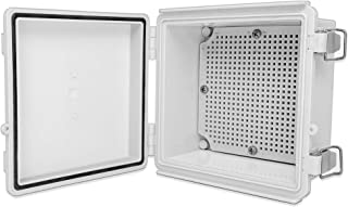 """QILIPSU Hinged Cover 150x150x90mm Junction Box with Mounting Plate, Universal IP67 Project Box Waterproof DIY Electrical Enclosure, ABS Plastic Grey (5.9""""x5.9""""x3.5"""" Stainless Steel Latch)"""