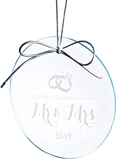 Mr and Mrs Wedding Ornament 2019 - Elegant Design Etched on Jade Crystal (3 Inches) in Black Box - Our First Year Together - Just Married Bridal Shower Ideas for Newlyweds or Couples
