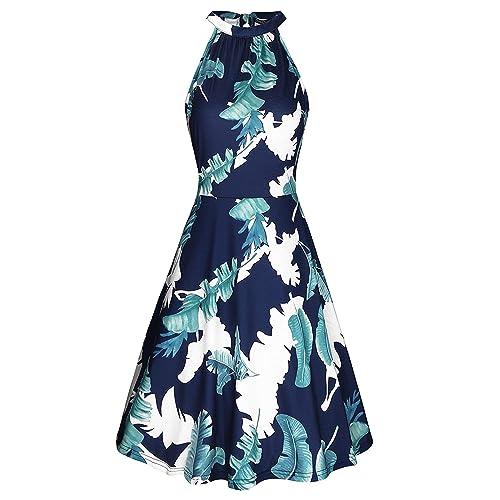 cfe00ea71cc OUGES Women s Halter Neck Floral Summer Casual Sundress