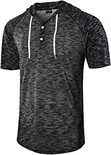 Moomphya Men's Jacquard Knitted Casual Short Sleeve Raglan Henley Jersey Hoodie T Shirt