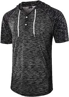 Men's Jacquard Knitted Casual Short Sleeve Raglan Henley Jersey Hoodie T Shirt
