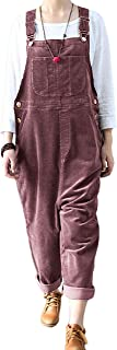 Lentta Women's Casual Baggy Corduroy Wide Leg Pants Bib Overall Jumpsuits with Pockets
