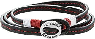Men's Red, White, and Black Faux Leather Braided Wrap Bracelet with Stainless Closure