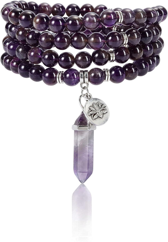 High material Jovivi 108 Mala Beads Bracelet Quartz National uniform free shipping Rose 8mm Amethyst Natural