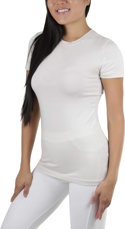 ToBeInStyle Womens Slim Fit Crew Neck Short Sleeve Longline Tee