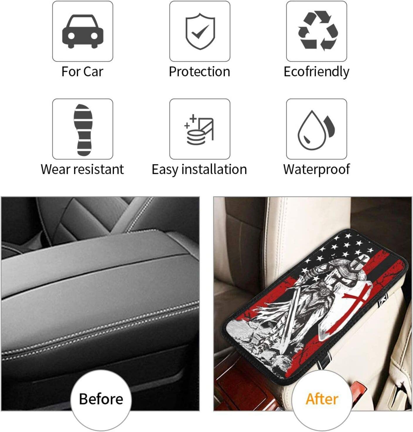 FUNINDIY Auto Center Console Pad Universal Car Armrest Seat Box Cover Protector Waterproof Car Armrest Cover for Most Vehicle SUV Truck