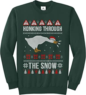 Threadrock Honking Through The Snow Goose Ugly Christmas Unisex Sweatshirt