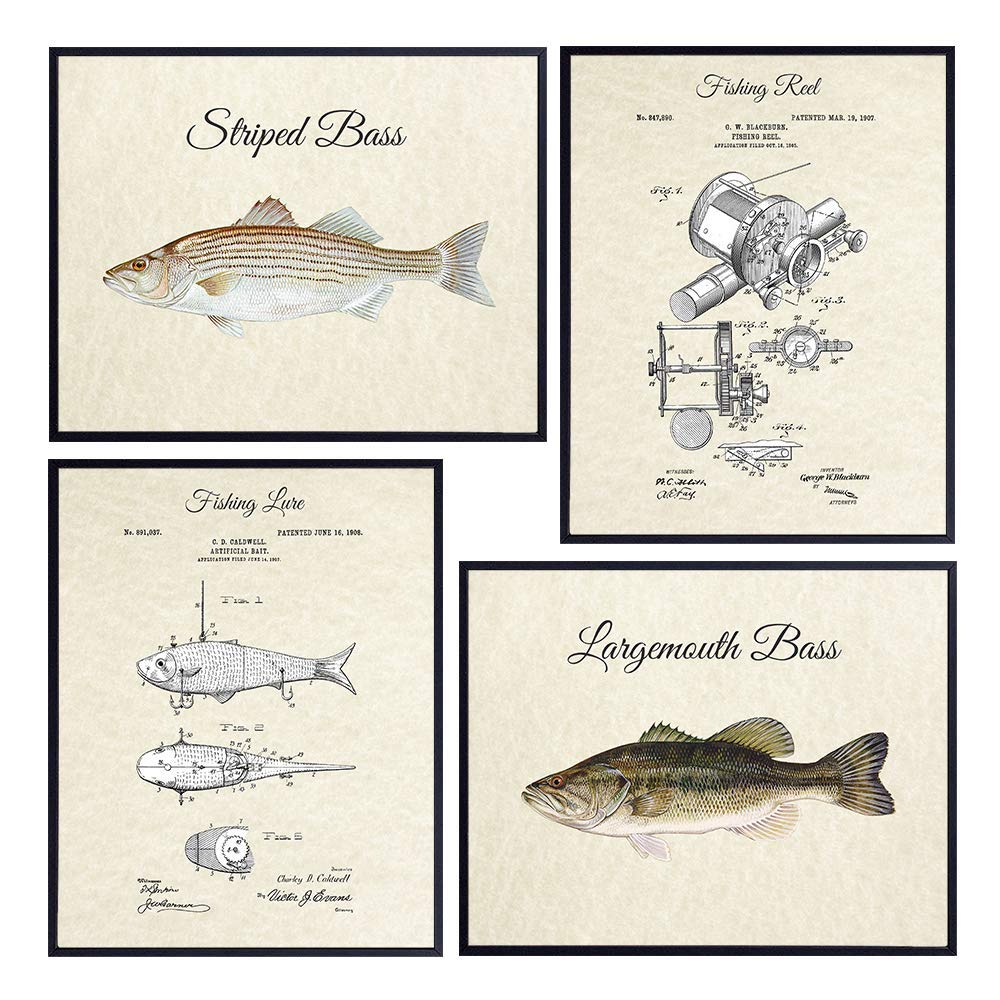 Bass Fishing Lure Reel Patent Print Set 4-8x Rustic It is very popular Some reservation Vintage -