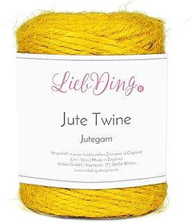 LiebDing Jutegarn | Juteschnur in 2mm aus Einer traditionellen Zwirnerei in England | Jute-Kordel | Bastelschnur | Schnur | Juteband in Senf-Gelb