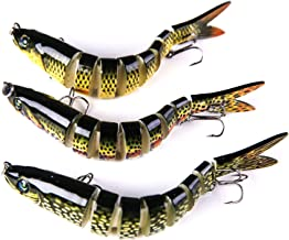 Oxmogen Fishing Lures Multi Jointed Bass Swimbaits - Trout Lures,Lifelike Freshwater Saltwater Fishing Lures Kit,8 Segment Crankbait Topwater Lure with Mustad Hooks