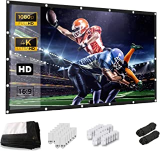 Projector Screen, Keenstone 120 Inch Projection Screen 4K 16:9 HD Foldable Wrinkle-Free Portable Movies Screen for Home Ba...