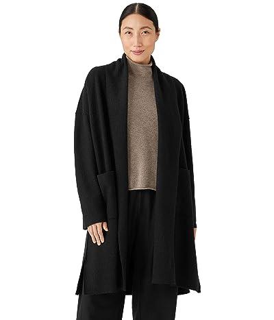 Eileen Fisher Petite High Collar Coat in Lightweight Boiled Wool