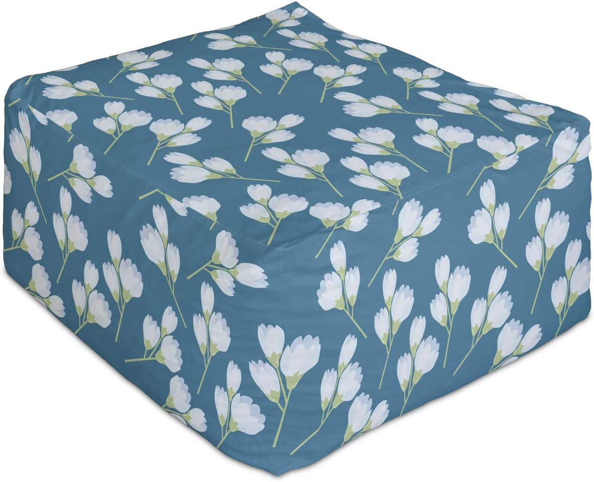 Ambesonne Floral Rectangle Pouf Nature of Philadelphia Mall Flowers Growing Max 75% OFF Bloom