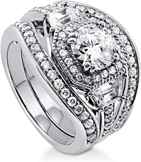 BERRICLE Rhodium Plated Sterling Silver Round Cubic Zirconia CZ Art Deco Halo Engagement Wedding Ring Set 2.48 CTW