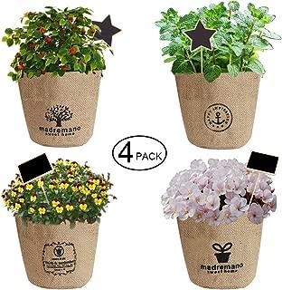 JOYHILL Plant Basket Jute Burlap Bag Pots Mini Flower Pot with Plant Label and Erasable Pen, Drainage Hole Plastic Lin Planting Pot for Indoor Garden, Outdoor Planters, Balcony, Patio Plants (4 Pack)