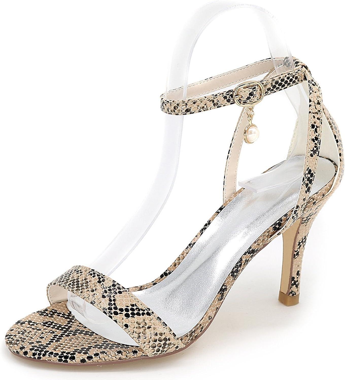 Elobaby Frauen Hochzeitsschuhe Kitten Heels Elegant Buckle Fashion High Heels Peep Toe ES-45 Platform 8,5cm Heel  | Elegant