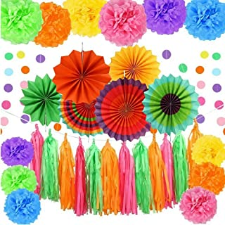 Fasdu 34pcs Party Decorations Include Multi-Color Paper Fans, Tissue Pom Poms Flowers, Circle Dot Garland and Tissue Paper Tassel for Wedding Decoration,Fiesta Party,Birthday Party or Mexican Party