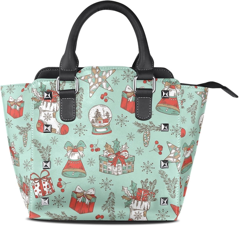 My Little Nest Women's Top Handle Satchel Handbag Christmas Boots Bell Star and Present Print Ladies PU Leather Shoulder Bag Crossbody Bag