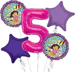 Dora the Explorer Balloon Bouquet 5th Birthday 5 pcs - Party Supplies