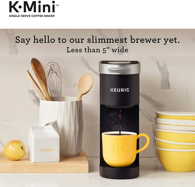 Keurig K-Mini Coffee Maker, Brew Sizes, Black + Peet's Coffee Major Dickason's Blend K-Cup Coffee Pods, Dark Roast, 32 Pods