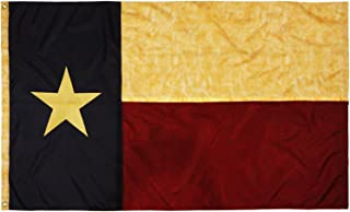 Anley Vintage Style Tea Stained Texas State Flag 3x5 Foot Nylon - Embroidered Stars and Sewn Stripes - 4 Rows of Lock Stitching - Antiqued Texan TX State Banner Flags with Brass Grommets 3 X 5 Ft