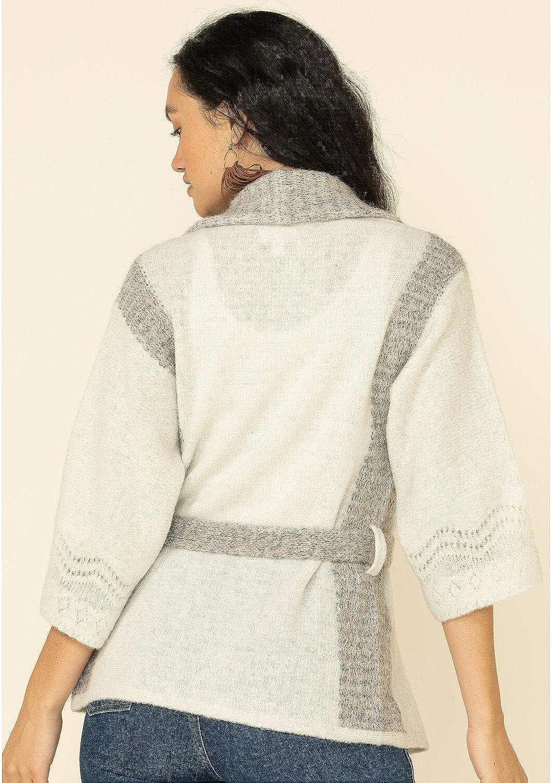 Shyanne Women's White Pointelle Sash Cardigan White Medium