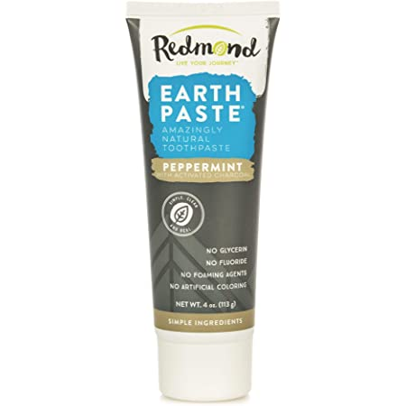 Redmond Earthpaste - Natural Non-Fluoride Charcoal Toothpaste, 4 Ounce Tube (Peppermint Charcoal)