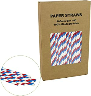 Royal Blue & Red Striped Straws for Drinking - Box of 100-7.75 inches, Disposable Paper Sticks for National Day, Baseball Theme Party etc.