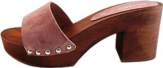 Silfer Shoes Zoccolo Donna - in Vero Legno - Pelle di camoscio Made in Italy - Colore Rosa Scuro- Colore Pesca Scuro