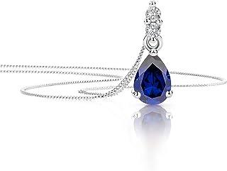 Bijoux Femme BO Pendant 16mm Larme Améthyste /& Diamant Cz Argent 925