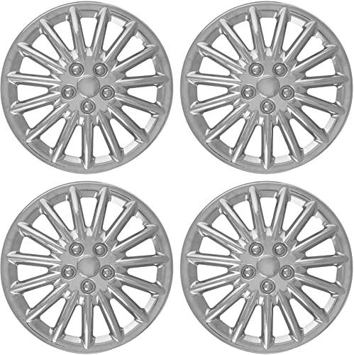 2021 15 inch Hubcaps Best high quality for 1997-1999 Dodge Dakota - (Set of 4) Wheel Covers 15in Hub Caps Chrome Rim Cover - Car Accessories for 15 inch Wheels - outlet sale Snap On Hubcap, Auto Tire Replacement Exterior Cap sale