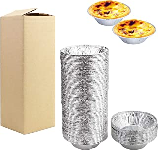 BILLIOTEAM 100PCS Mini Aluminum Foil Tart Pan Egg Tart Pan Safe Disposable Aluminum Round Egg Tart Tin Foil Pans for Bakin...