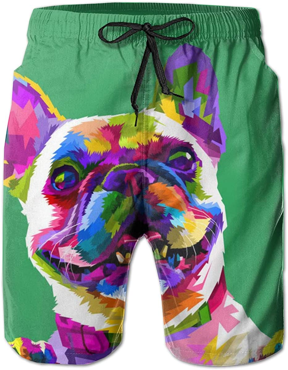 Cey99P-A Mens French Bulldog Quick Dry Short Swim Trunks, Slim Fit Surf Board Shorts with Pockets for Mens