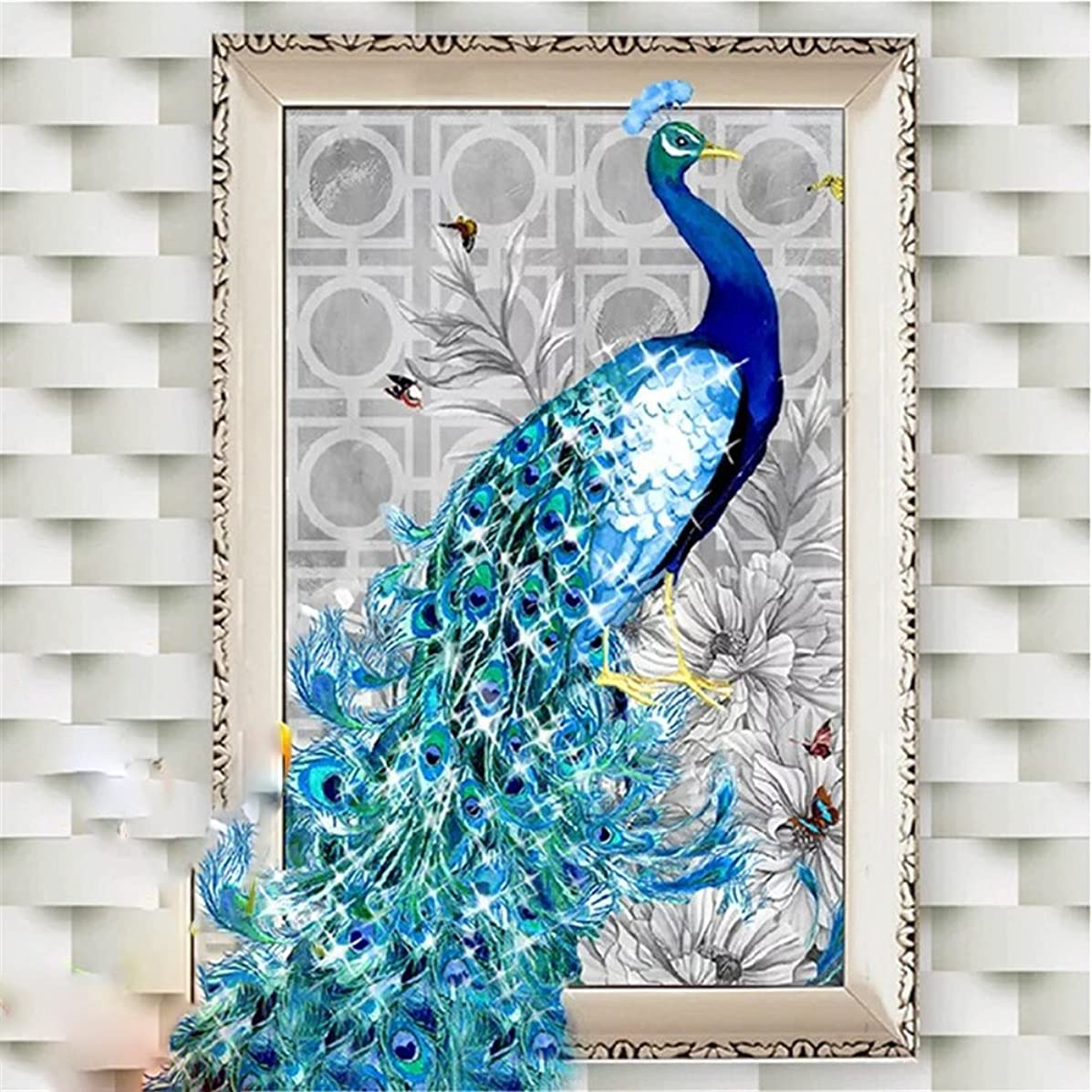 5D DIY Crystals Diamond Rhinestone Painting Pasted Paint By Number Kits Peacock,40x58 CM Size (Left)