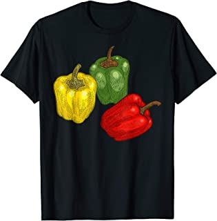 Pepper T-Shirt - Vegetable Green Red Yellow Pepper Vintage