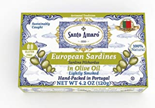 SANTO AMARO European Wild Sardines in Pure Olive Oil (12 Pack, 120g Each) Lightly Smoked..