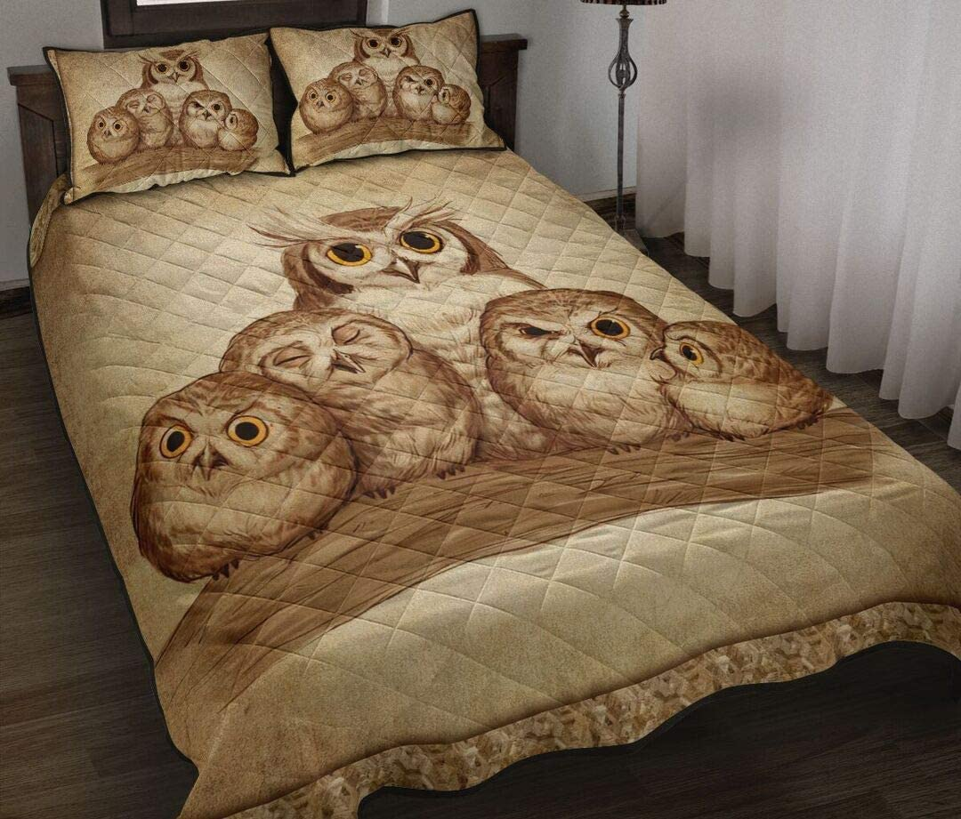 Free free shipping shipping anywhere in the nation Personalized Owl Loving Family Quilt to Set Birthd Bed