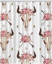 GCKG Watercolor Boho Arrows Bull Skull with Horns Floral Arrangement Tribal Bohemian Aztec Waterproof Bathroom Shower Curtain 60x72 inch