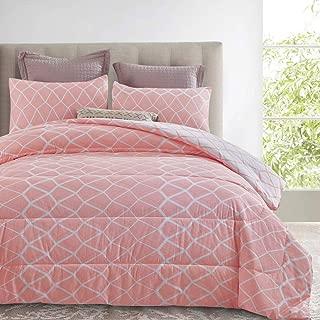 ATsense Comforter Set King, 3-Piece 100% Cotton Fabric, Soft Microfiber Overfilled Bedding, Lightweight Alternative Reversible Duvet Insert for All Season (Pink, SSFG008)