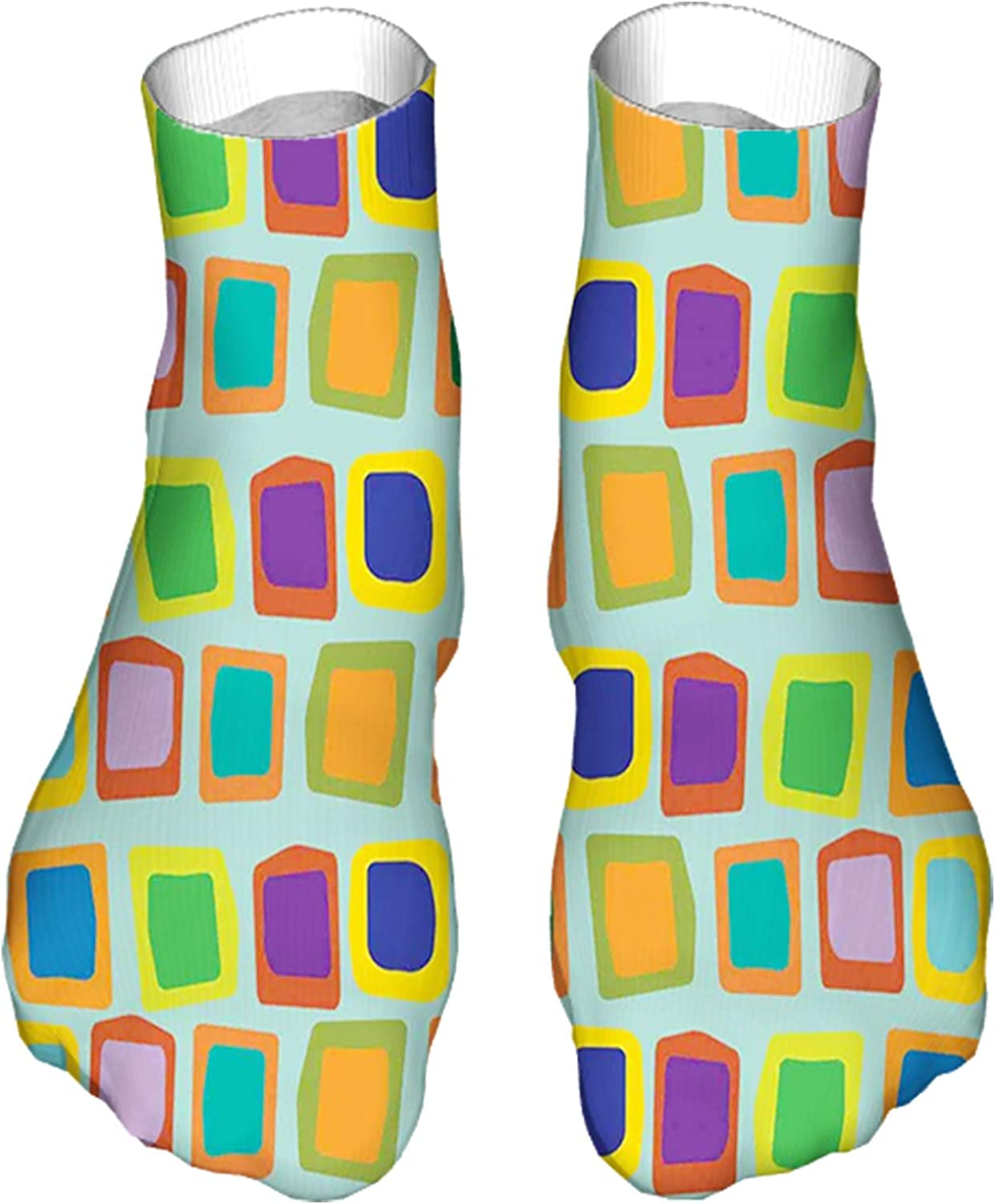 Women's Colorful Patterned Unisex Low Cut/No Show Socks,Modern Abstract Illustration with Various Uneven and Deform