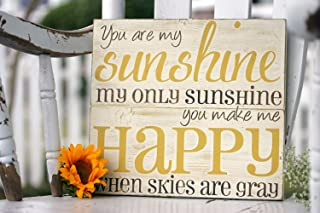 Susie85Electra You are My Sunshine Wall Art Hand Painted Wood Sign Rustic Wall Decor Great for Baby Room Or Home Decor 11 X 12